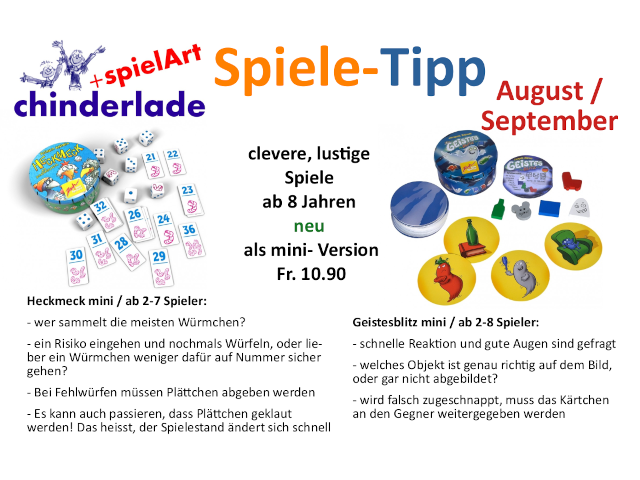 Spiele-Tipp August / September
